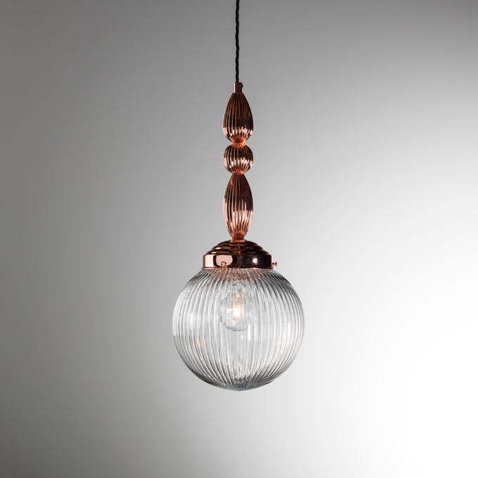 The Flute Pendant Light In Polished Copper With Clear Prismatic Glass Globe