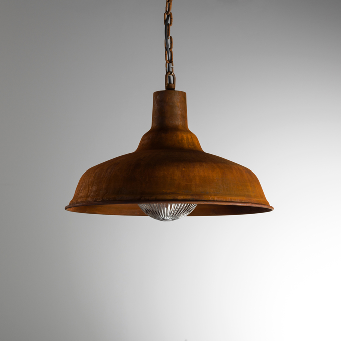 The Large Factory Pendant Light in Real Rust finish