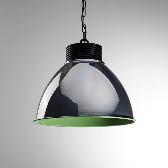 The Chrome High Bay Pendant Light With green inner Colour
