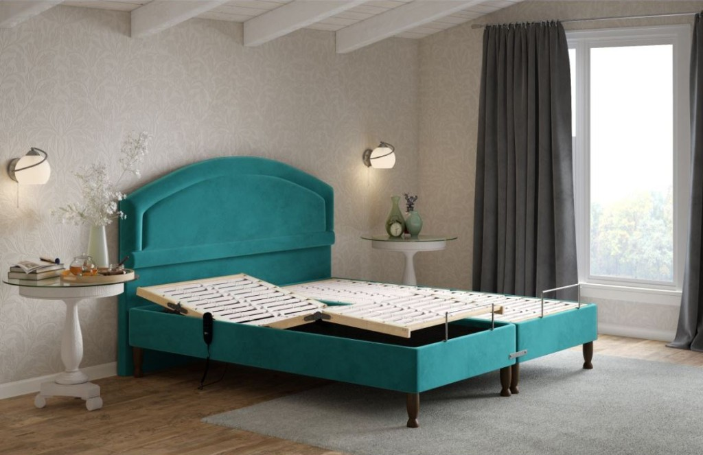 Alconbury King Size Adjustable bed in Velvet Teal with a shallow base
